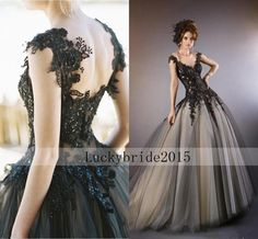 New Vintage Cap Sleeve Bead Black Lace Ball Gown Wedding dress Size 6 8 10 12 14