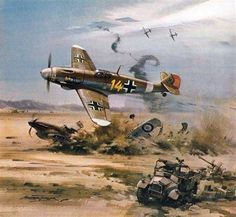 On Sept. 1, 1942 at 0839 hours, 22 year old Captain Hans-Joachim Marseille scores his fourth kill of the day 20 km SSE of El Imayid. By the end of the day he will confirm a total of 17 kills in three sorties. Painting by Michael Turner
