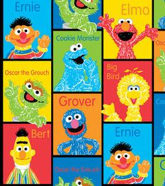 Sesame Street  Block Fleece Fabric Fabric