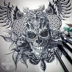 My Most Favorite Geometric Tattoo Owl Tattoo Drawings, Tatoo Art, Tattoo Sketches, Dot Tattoos, Head Tattoos, Body Art Tattoos, Owl Skull Tattoos, Chest Piece Tattoos, Chest Tattoo
