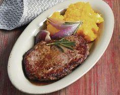 Entrecôtes mit Kürbisstampf - Rezeptdatenbank - LE MENU Steak, Pork, Food Food, Cooking, Recipes, Kale Stir Fry, Pigs, Steaks, Beef