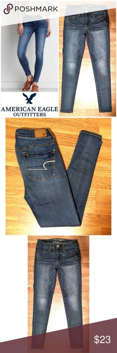 """NEW Jegging American Eagle Outfitters jeans These awesome American Eagle Outfitters jeggings are perfect for dressing on any occasion! Classic blue cotton  blend with 2% spandex for super stretch fit. Functional front and back pockets, gold accent stitching. Jegging fit. Size 4 regular, 29"""" inseam, model shows fit only. Dress up or down with boots and sweaters, sneakers and tees... possibilities are endless! NWOT UNUSED NO DAMAGES. Grab yours for less and look great in American Eagle…"""