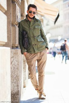 khaki and green khaki - casual style for the guys #fashion #style #menswear