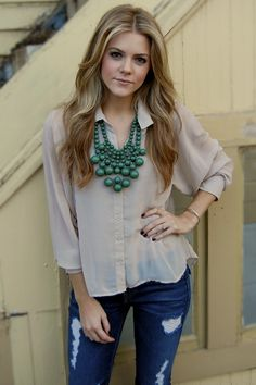 Tan Top and Emerald Necklace, ripped jeans <3