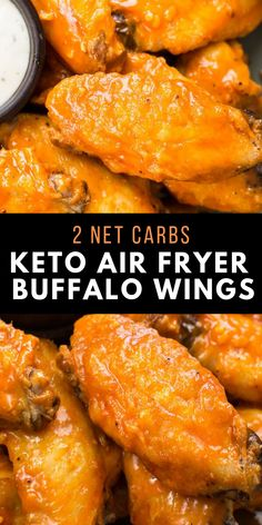 Keto Air Fryer Buffalo Wings These Air Fryer Buffalo Wings are ultra crispy with no breading! These wings are the perfect low carb game day snack complete with a spicy, buttery buffalo sauce! Only 2 net carbs each! Air Fryer Recipes Wings, Air Fryer Wings, Air Fryer Recipes Vegetables, Air Fryer Recipes Snacks, Air Fryer Recipes Vegetarian, Air Fryer Recipes Low Carb, Air Fryer Recipes Breakfast, Appetizer Recipes, Healthy Recipes