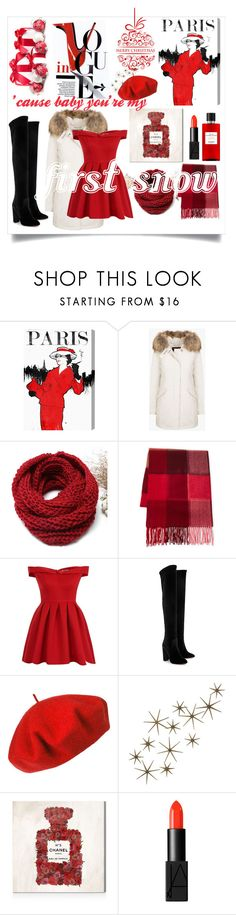 """The first snow"" by gracy-jk ❤ liked on Polyvore featuring Oliver Gal Artist Co., Fraas, GE, Chi Chi, Aquazzura, Betmar, Global Views, NARS Cosmetics and Hermès"