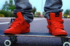 An image I found of a person wearing Supras on a skateboard. Red Sneakers, Sneakers Nike, Crazy Kids, Mood Swings, Colorful Fashion, Skateboard, Kicks, Footwear, Fancy