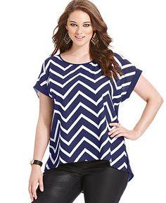 Eyeshadow Plus Size Short-Sleeve Striped Cutout-Back Top - Plus Size Tops - Plus Sizes - Macy's