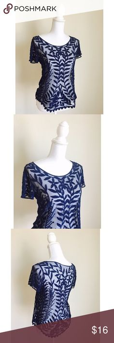 Navy Lace Overlay ✨ Beautiful navy blue lace overlay top - Perfect over your favorite cami or bralette - Summertime staple ⚜ Size S Xhilaration Tops