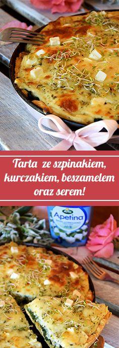 Tarta ze szpinakiem, kurczakiem, beszamelem oraz serem sałatkowym w kostce firmy Apetina to pomysł na niebanalny i pyszny obiad :) http://poprostupycha.com.pl/tartaze-szpinakiem/ #tarta #szpinak #kurczak #obiad #przepis #poprostupycha