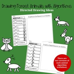 This set of direct drawing ideas features forest animals. The directions of creating each of the animals is displayed on Blockly coding blocks. Division Activities, Geometry Activities, Drawing Activities, Steam Activities, Time Activities, Kindergarten Activities, Fraction Games For Kids, Planet Crafts, Kindness Activities