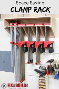Make this Space Saving Parallel Clamp Storage Rack for your shop. This design will save tons of wall space and keep your clamps nice and tidy! - My Easy Woodworking Plans Workshop Storage, Workshop Organization, Home Workshop, Tool Storage, Garage Storage, Storage Spaces, Storage Ideas, Storage Organization, Storage Solutions