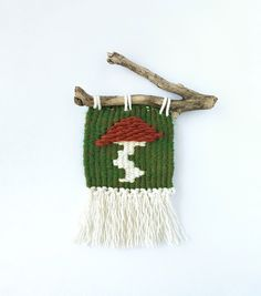 Orange Mushroom Mini Wall-hanging, Handwoven Toadstool Tapestry, Green Weaving with Ivory Fringe, Driftwood by TheGentleCoast on Etsy