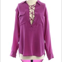 Final Equipment Knox Lace Up Blouse in Orchid XS Purchased and worn twice. Still in excellent condition. No trades/PayPal! Equipment Tops Blouses