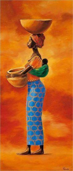 Afrika leben - Africa-Pictures Fashion and Beauty - Dessin Arte Tribal, Tribal Art, 3 Canvas Art, African Art Paintings, African Drawings, African Artwork, Afrique Art, Black Artwork, Black Women Art