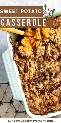 This is the best sweet potato recipe ever! Creamy whipped sweet potatoes with cinnamon and nutmeg, all topped off with crunchy pecans and sweet brown sugar instead of marshmallows. #SundaySupper #thanksgiving #holiday #holidaydishes #dishes #sidedish #sweetpotato