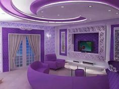 Purple living room in my cute little house! That's how obsessed. Purple Love, All Things Purple, Shades Of Purple, Pink Purple, Purple Stuff, Bright Purple, Purple Home Decor, Purple Interior, Purple Furniture