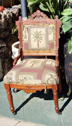 Wonderful upholstery, no tears or rips. I also have an early child's rocker for sale. Aesthetic Movement, Victorian Era, Rocking Chair, Solid Wood, Upholstery, Dining Chairs, Furniture, Home Decor, Chair Swing