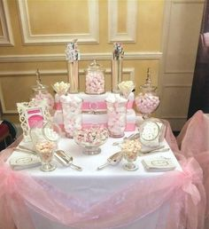 pink and white candy buffet Pink Candy Buffet, Lolly Buffet, Candy Buffet Tables, Dessert Buffet, Pink Candy Bars, Dessert Tables, Party Decoration, Wedding Decorations, Wedding Candy Table