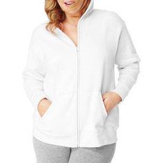 Just My Size Women's Plus-Size Fleece Zip Hood Jacket, Size: 1XL, White