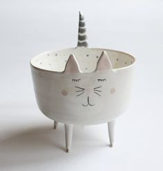 Maurice the Cat  sweet cat bowl with pastel polka by clayopera, $39.00