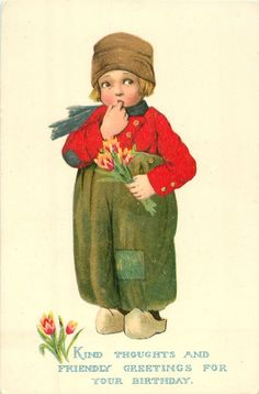 Dutch boy with finger in mouth, holding tulips