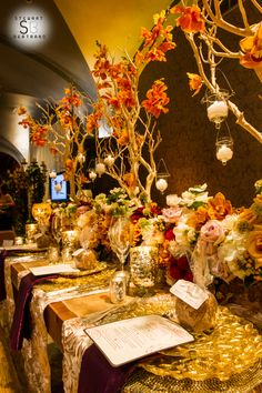 Fall inspired wedding with manzanita, orange orchids and gold chargers by First Comes Love - www.firstcomeslovesd.com, Flora Glamor, Farm Tables and More, Nic.Roc Designs - photo by Stewart Bertrand Photography