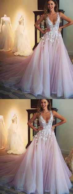 Long Prom Dresses, Pink Prom Dresses, Pretty Prom Dresses, Prom Dresses Long, Prom Long Dresses, Long Evening Dresses, Long Pink dresses, Deep V-Neck Evening Dresses, Pink Deep V-Neck Evening Dresses, Pretty Appliques A-line V-neck Long Prom Dress Evening Dress