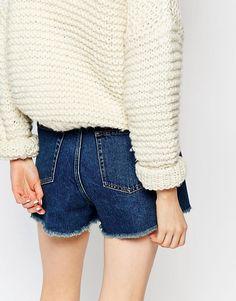 Image 3 - Monki - Short usé en jean à bords effilochés