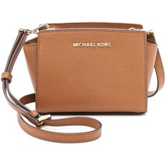MICHAEL Michael Kors Selma Mini Messenger Bag (€155) ❤ liked on Polyvore featuring bags, messenger bags, bolsos, luggage, leather crossbody, messenger bag, brown leather bag, crossbody bags and leather courier bag