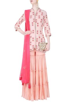 Blush pink beads, cutdana and thread work motifs jacket with gharara pants available only at Pernia's Pop Up Shop.