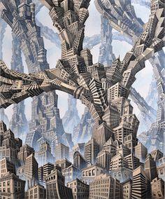 Ballard Artwalk: Knutzen's Surrealist Landscapes Return to BalMar for December Artwalk South Seattle, Invisible Cities, Building Sketch, Sense Of Place, Arts Ed, Weird World, Local Artists, That Way, Denmark