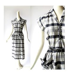 1950s Jules and Jim gingham dress with knotted pockets