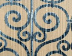 A strie of blues in the velvet ironwork design of the cotton blend nouvelle Orleans in Bleu includes a showstopping light blue that looks as if it's reflecting light. Pattern Texture, Coordinating Fabrics, Bold Stripes, Artwork Design, Blues, Light Blue, Velvet, Textiles, Interiors