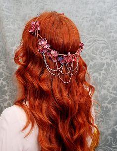 cascading floral elf crown