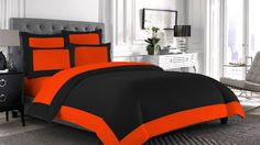 4Pc 14''P 1200Tc Reversible C.King Orange &Black Egyptian Cotton Duvet Cover Set