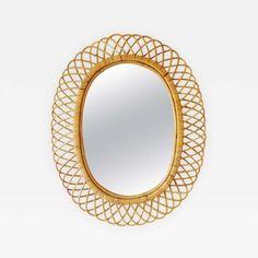 Franco Albini Style Rattan Mirror by Franco  Albini