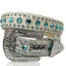 M-L-XL HAIR on HIDE Leather Western Cowgirl Belt BHW Rhinestone White Blue Women