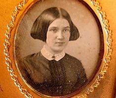 1/6 plate daguerreotype, winged hairdo c. 1855.