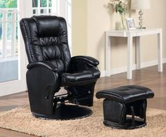 Coaster Glider & Ottoman-Black   Coaster Glider & Ottoman-Black Padded seating and smooth gliding mechanism, covered in durable leather like black vinyl. Comes with matching ottoman.  http://www.babystoreshop.com/coaster-glider-ottoman-black/