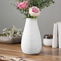 When you want the stems and sprays to be the star, keep the vase simple. This chevron vase is perfect- a little texture and a solid color. It fits in with any style, and it makes your plants pop. Farmhouse Vases, Modern Farmhouse, Mantle Ideas, Vase Crafts, Ceramic Vase, Sprays, Stems, Foyer, Decorative Items