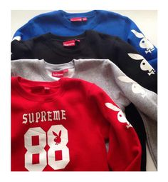 BAPE Supreme Playboy Sweaters Prep up for the cold months and still look cool with BAPE Supreme sweaters! Supreme Sweater, Men's Sweatshirts, Streetwear Shop, A Bathing Ape, Bape, Sweater Jacket, Look Cool, Playboy, Street Wear