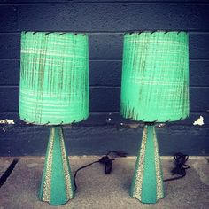 Mid-century pair of lamps - I love the color!
