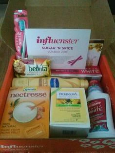 Received my Sugar 'n Spice VoxBox from Influenster!! The Optic White toothbrush and toothpaste have my smile brighter everyday! Loved loved loved the belVita breakfast bar, but that Vaseline Spray lotion.......