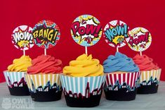 Cupcakes at a Superhero Party #superhero #partycupcakes