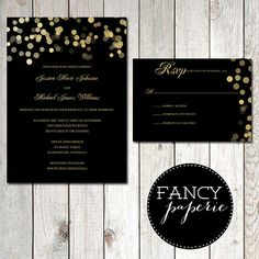 Black & Gold Glitter Wedding Invitation Suite #wedding #invitations #weddinginvitations #black #gold #glitter #invitationsuite #rsvp