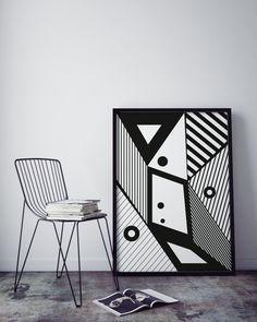 Black and white art, geometric wall art print, printable wall art, digital print, minimalist art, modern prints, stripes poster, wall decor by KAKUMAstore on Etsy