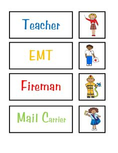 "Preschool Printables: Community Helpers  Preschool Printables: Community Helpers  NTS: Change to ""firefighter"" for gender neutrality and Exchange characters for firefighter and teacher to be less stereotypical."