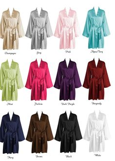 Personalized SATIN Robes ~ Bridesmaid Gift ~ Bridal Shower ~ Monogrammed ~ Grey ~ Pink ~ Fuchsia ~ Black ~ Coral ~ Navy ~ Purple on Etsy, $27.00