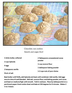 """HCG, phase another pinner said """"These cookies are made with coconut flour and are sugar and starch free. I came up with this recipe myself and they came our GREAT! Hcg Diet Recipes, No Carb Recipes, Vanilla Cookies, Almond Cookies, Diabetic Desserts, Gluten Free Desserts, Starch Free Recipe, Unsweetened Cocoa, Stick Of Butter"""